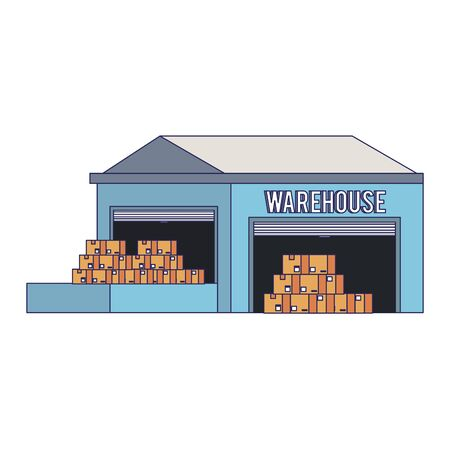 Warehouse storage with delivery boxes inside vector illustration Çizim