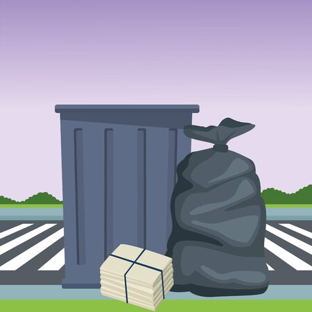 trash garbage can, garbage bag and paper pile moored icon cartoon outdoor next to the street and some shruberry in the horizon vector illustration graphic design