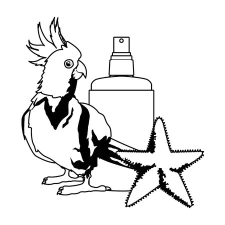summer beach and vacation with sunscreen jar, starfish and cockatoo icon cartoon in black and white vector illustration graphic design