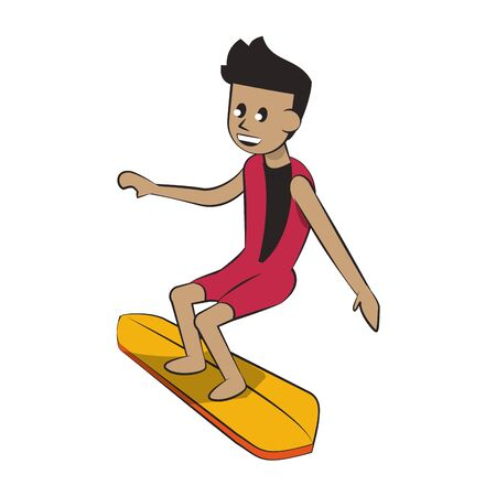 Water extreme sport man on surf table cartoon isolated vector illustration graphic design