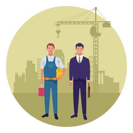 labor day employment occupation national celebration,builder with executive business man workers in front city construction view cartoon vector illustration graphic design