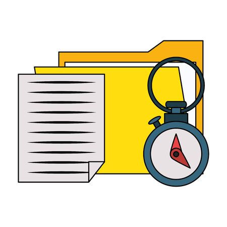 documents files system archives with chronometer cartoon vector illustration graphic design Stok Fotoğraf - 131852462