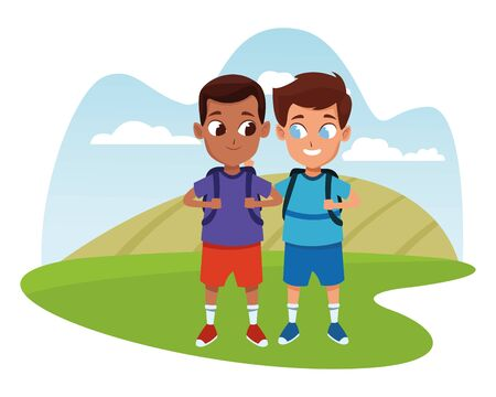 childhood adorable school students happy boys friends wearing backpack cartoon in nature outdoors scenery with trees ,vector illustration graphic design.