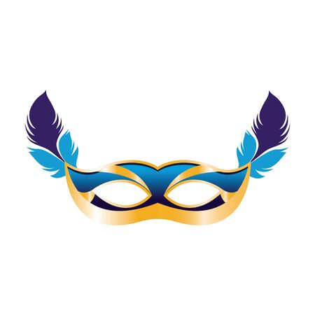 colorful design of carnival mask with feathers icon over white background, vector illustration Ilustracja