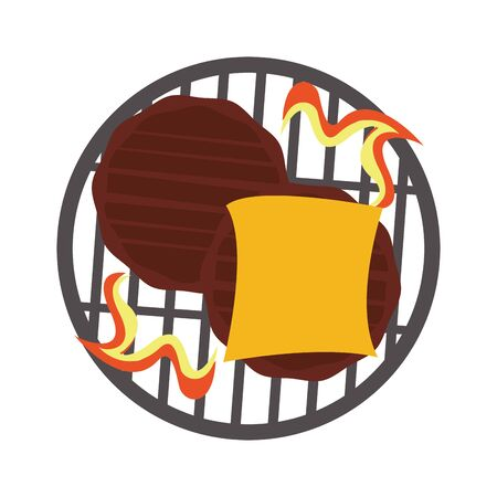 Barbecue food burgers in cheese cooking in grill vector illustration graphic design