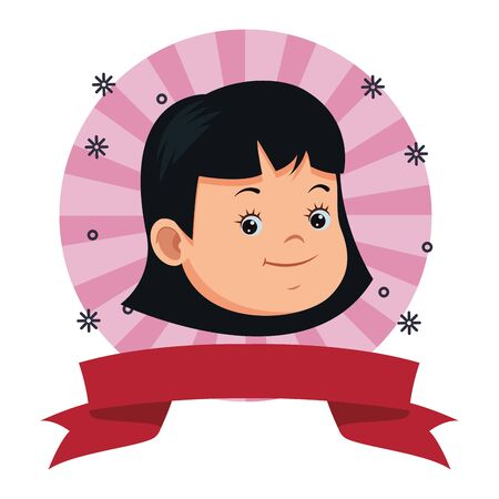 Beautiful little girl smiling face on round striped emblem with blank ribbon banner ,vector illustration graphic design.