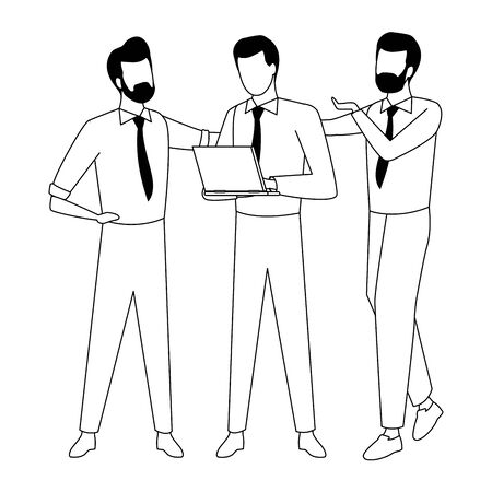 Businessmen coworkers with office clipboard documents in black and white isolated faceless avatar vector illustration graphic design Иллюстрация