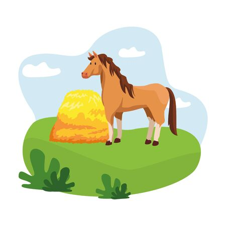 farm, animals and farmer with hay icon cartoon over the grass with bush and clouds vector illustration graphic design