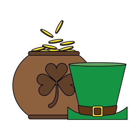 saint patricks day irish tradition leprechaun hat with golden coins pot cartoon vector illustration graphic design Фото со стока - 131850651