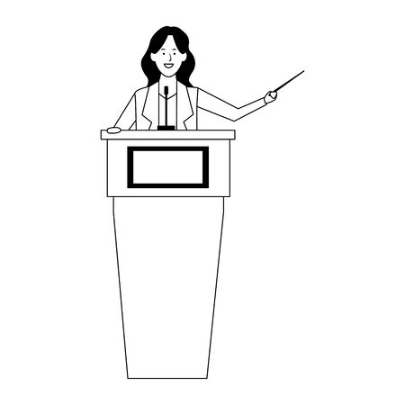 cartoon Woman Standing Behind A Podium over white background, black and white designvector illustration