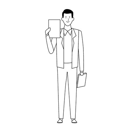 cartoon businessman standing and holding documents icon over white background, flat design. vector illustration Illustration