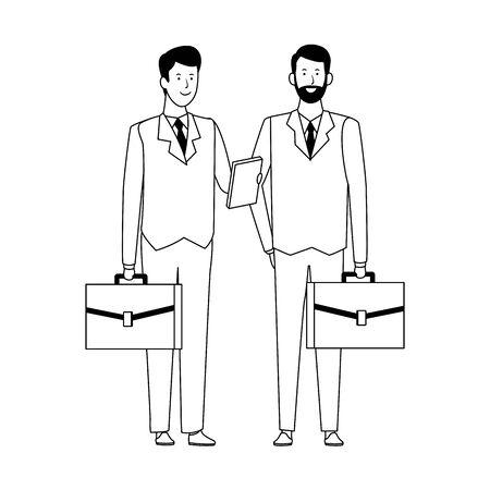 cartoon businessmen with business portfolios over white background, vector illustration Illustration