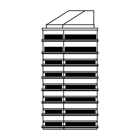 modern city building icon over white background, vector illustration Stock Illustratie