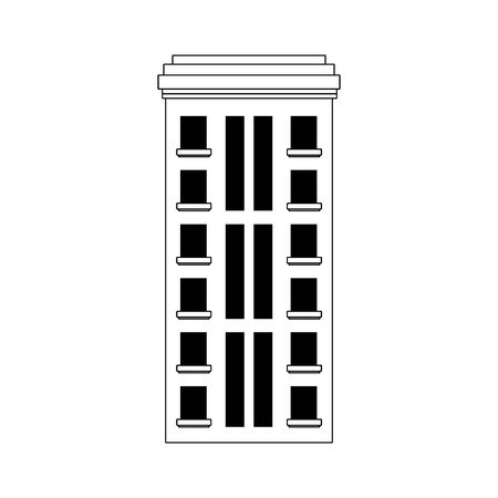 urban city building icon over white background, vector illustration
