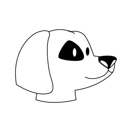 cute dog head icon over white background, vector illustration