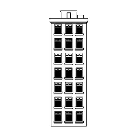 tall city building icon over white background, vector illustration Stock Illustratie