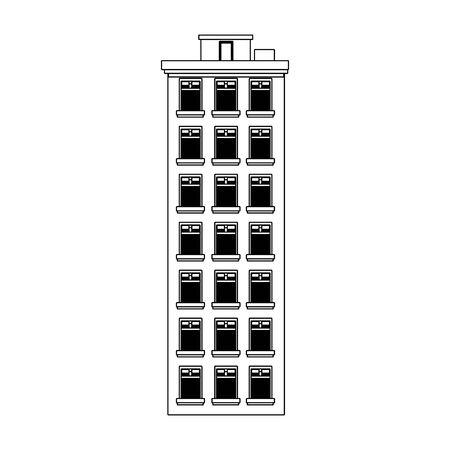 tall city building icon over white background, vector illustration Illusztráció