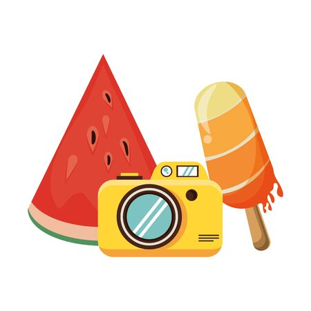 summer beach and vacation with ice lolly, photographic camera icon cartoons vector illustration graphic design