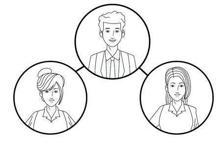 group of business people avatar cartoon character profile picture in round icon black and white vector illustration graphic design Illustration