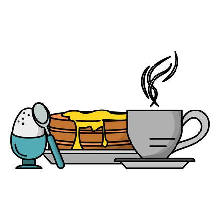 Breakfast morning food pancakes with cooked egg and coffee cup cartoons vector illustration graphic design