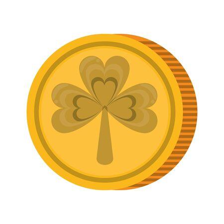 saint patricks day irish tradition golden coin isolated cartoon vector illustration graphic design