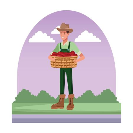 farm, animals and farmer man with overall, boot, hat and holding a wicker basket avatar cartoon character over the grass with bush and clouds vector illustration graphic design Ilustração