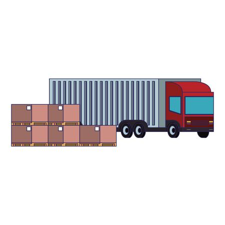 Delivery truck with boxes and merchandise isolated vector illustration