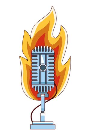 microphone icon cartoon with fire vector illustration graphic design