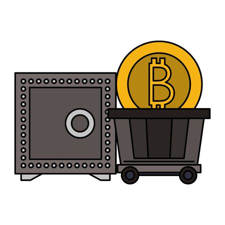 Bitcoin cryptocurrency strongbox and coin in carrier vector illustration graphic design