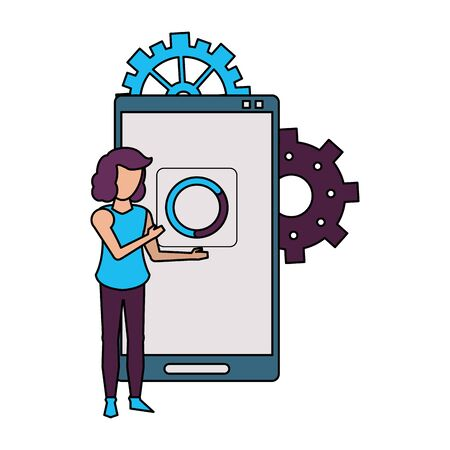 technology smartphone user making support and maintenance loading icon cartoon vector illustration graphic design