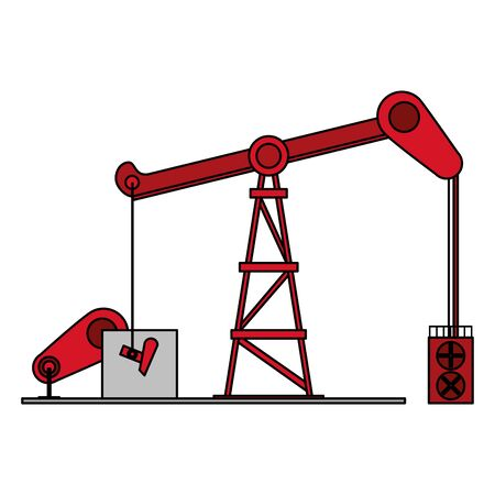 oil refinery gas factory industry petrochemical petroleum plant fracking deep process cartoon vector illustration graphic design