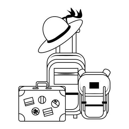 trip around the world symbols with suitcase backpack cabin bag and hat isolated symbols Vector design illustration Illustration