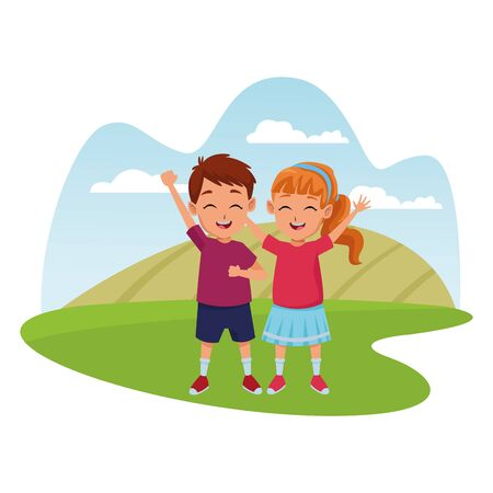 Kids friends boy and girl playing and smiling cartoons in nature park outdoors scenery background ,vector illustration graphic design.