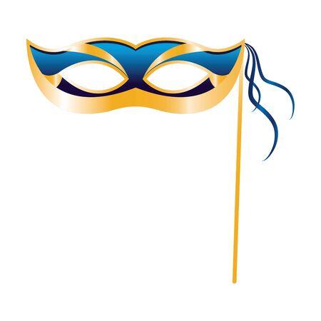 colorful Design of mardi grass mask on stick icon over white background, vector illustration Ilustração