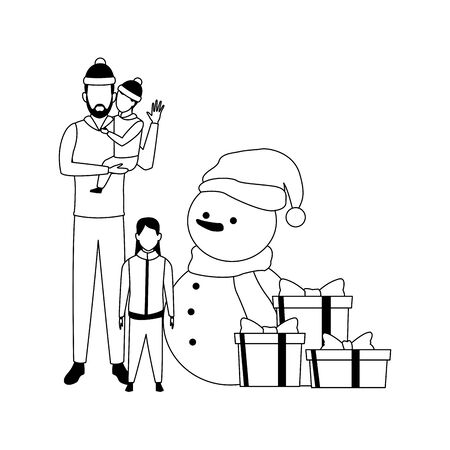 avatar man with little kids around christmas snowman and gift boxes over white background, vector illustration Ilustração