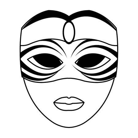 carnival mask face icon over white background, vector illustration Ilustração