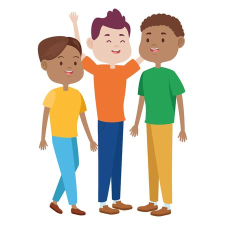 Teenagers friends with casual clothes smiling and greeting cartoons ,vector illustration graphic design. Ilustração Vetorial