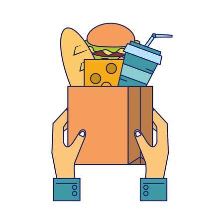 Hands holding paper bag with groceries vector illustration graphic design Illustration
