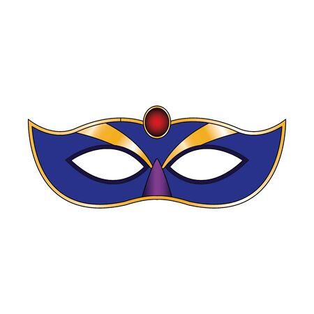 colorful Mardi gras mask icon over white background, vector illustration