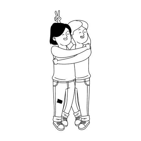 hugged cartoon teen girls over white background, vector illustration