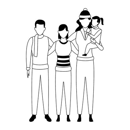 friends and woman holding a little girls in her arms over white background, vector illustration