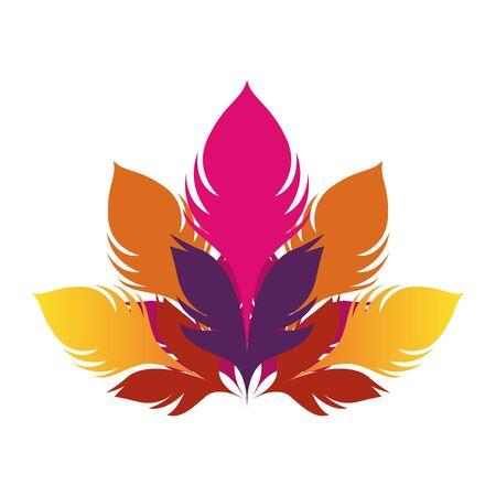 icône de plumes colorées sur fond blanc, design plat. illustration vectorielle