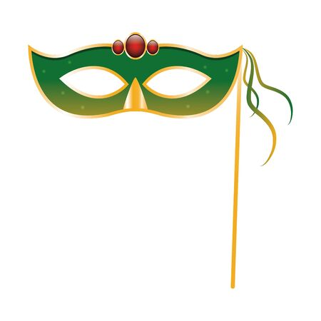Mardi gras mask on stick icon over white background, colorful design. vector illustration