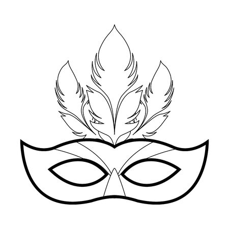 Masquerade mask with feathers icon over white background, vector illustration