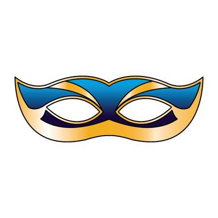 Design of mardi gras blue mask icon over white background, vector illustration Ilustração