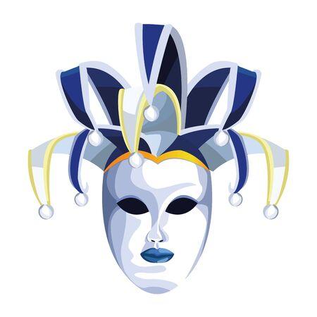 Elegant Harlequin mask icon over white background, vector illustration Ilustração