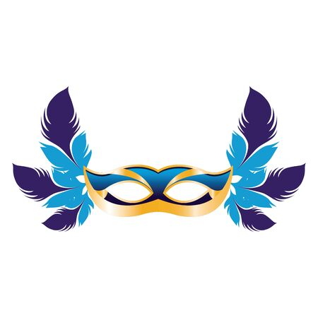 Masquerade mask with colorful feathers over white background, colorful design. vector illustration Ilustração