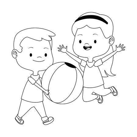 colorful design of happy girl and boy playing with a ball over white background, vector illustration Ilustração