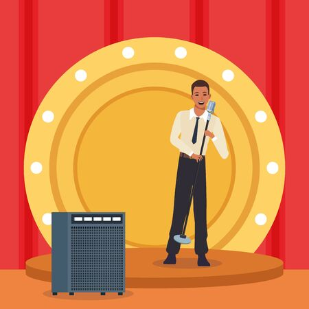 cartoon singer man in stage with sound amplifier, colorful design. vector illustration