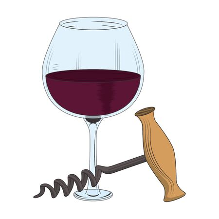 wine glass and corkscrew utensil icon over white background, vector illustration